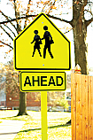 Ahead Crosswalk Rider Sign