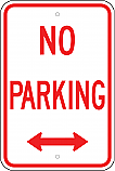 No Parking w/ Double Arrow Sign