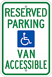 Handicapped Reserved Van Accessible Parking Sign