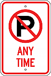No Parking Symbol Any Time Sign