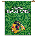 Chicago Blackhawks Irish Shamrocks Vertical Banner 27x37