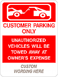 Customer Parking (Add Legend) Sign