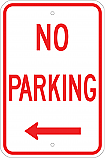 No Parking w/ Left Arrow Sign