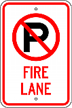 No Parking Symbol Fire Lane Sign