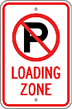 No Parking Symbol Loading Zone Sign
