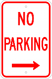 No Parking w/ Right Arrow Sign