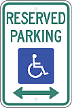Handicapped Reserved Parking Double Arrow Sign