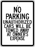 No Parking Unauthorized Cars 18x24 Sign