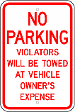 No Parking Towed at Owner's Expense Sign