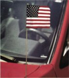 "Cotton US Antenna Flags w/ Gold Fringe (4""x6"")"